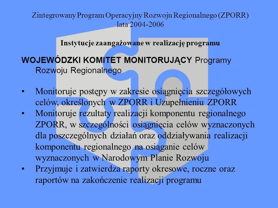 Zintegrowany Program Operacyjny Rozwoju Regionalnego (ZPORR) lata 2004-2006 Instytucje zaangażowane w realizację programu WOJEWÓDZKI KOMITET MONITORUJ