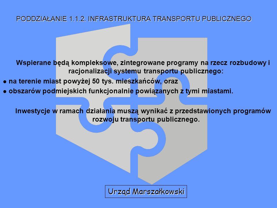 PODDZIAŁANIE 1.1.2. INFRASTRUKTURA TRANSPORTU PUBLICZNEGO Wspierane będą kompleksowe, zintegrowane programy na rzecz rozbudowy i racjonalizacji system
