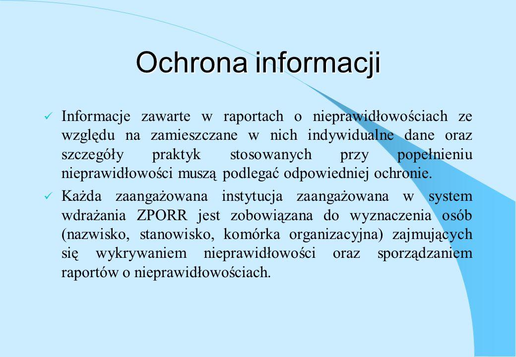Ochrona informacji Informacje zawarte w raportach o nieprawidłowościach ze względu na zamieszczane w nich indywidualne dane oraz szczegóły praktyk sto