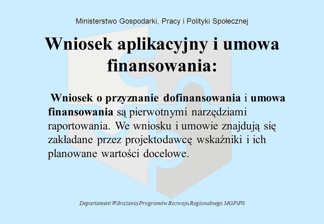 Departament Wdrażania Programów Rozwoju Regionalnego MGPiPS Wniosek aplikacyjny i umowa finansowania: Ministerstwo Gospodarki, Pracy i Polityki Społec