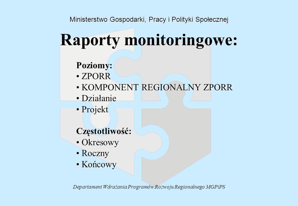 Departament Wdrażania Programów Rozwoju Regionalnego MGPiPS Raporty monitoringowe: Ministerstwo Gospodarki, Pracy i Polityki Społecznej Poziomy: ZPORR