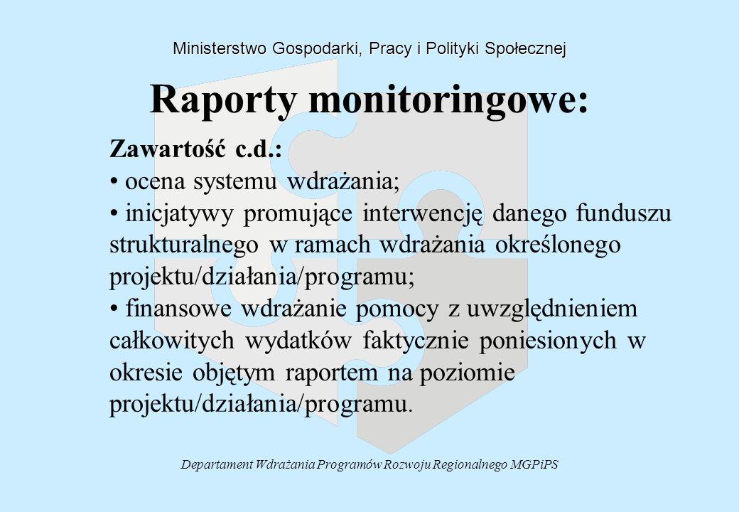 Departament Wdrażania Programów Rozwoju Regionalnego MGPiPS Raporty monitoringowe: Ministerstwo Gospodarki, Pracy i Polityki Społecznej Zawartość c.d.