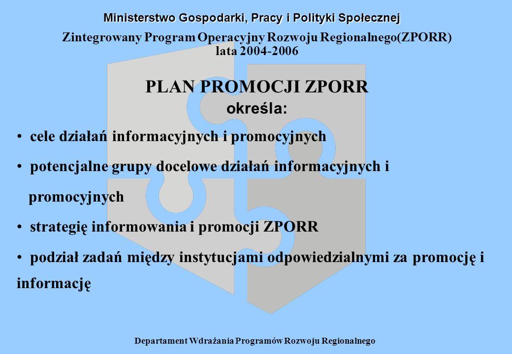Departament Wdrażania Programów Rozwoju Regionalnego Zintegrowany Program Operacyjny Rozwoju Regionalnego(ZPORR) lata 2004-2006 Zadania Instytucji Zarządzającej ZPORR w zakresie informacji i promocji: prowadzenie działań informacyjnych i promocyjnych na poziomie krajowym Ogólny nadzór i koordynacja na szczeblu krajowym realizacji zobowiązań wynikających z Rozporządzenia KE 1159/2000 przez wszystkie jednostki zaangażowane we wdrażanie ZPORR Ministerstwo Gospodarki, Pracy i Polityki Społecznej