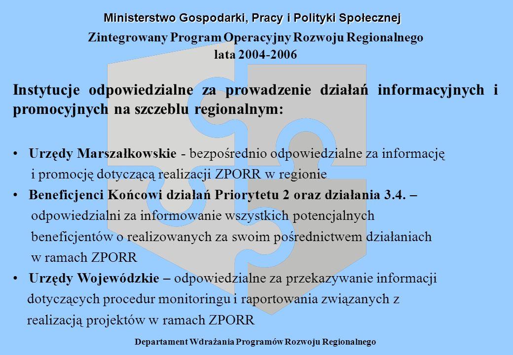 Departament Wdrażania Programów Rozwoju Regionalnego Zintegrowany Program Operacyjny Rozwoju Regionalnego(ZPORR) lata 2004-2006 Urząd Marszałkowski – zakres odpowiedzialności: Koordynowanie działań informacyjnych i promocyjnych na szczeblu regionalnym Koordynowanie prac nad opracowaniem Regionalnego Planu Działań Informacyjnych i Promocyjnych oraz monitorowanie jego realizacji Zapewnienie powszechnego dostępu do informacji o możliwościach uzyskania wsparcia w ramach ZPORR ze środków funduszy strukturalnych dla wszystkich grup docelowych na terenie województwa Pełnienie funkcji głównego punktu kontaktowego (obok Instytucji Wdrażających) dla potencjalnych projektodawców Informowanie o kryteriach oceny i wyboru projektów oraz obowiązujących w tym zakresie procedurach Zapewnienie dostępu do materiałów informacyjnych i wniosków aplikacyjnych w Urzędzie Marszałkowskim oraz u Beneficjentów Końcowych na terenie województwa Ministerstwo Gospodarki, Pracy i Polityki Społecznej