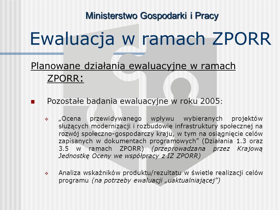 Ministerstwo Gospodarki i Pracy Ewaluacja w ramach ZPORR Planowane działania ewaluacyjne w ramach ZPORR : Pozostałe badania ewaluacyjne w roku 2005 : Ocena przewidywanego wpływu wybieranych projektów służących modernizacji i rozbudowie infrastruktury społecznej na rozwój społeczno-gospodarczy kraju, w tym na osiągnięcie celów zapisanych w dokumentach programowych (Działania 1.3 oraz 3.5 w ramach ZPORR) (przeprowadzana przez Krajową Jednostkę Oceny we współpracy z IZ ZPORR) Analiza wskaźników produktu/rezultatu w świetle realizacji celów programu (na potrzeby ewaluacji uaktualniającej)