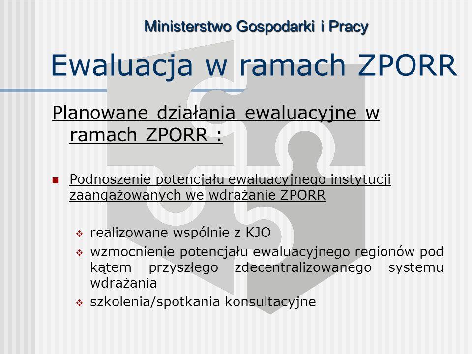 Ministerstwo Gospodarki i Pracy Ewaluacja w ramach ZPORR Planowane działania ewaluacyjne w ramach ZPORR : Podnoszenie potencjału ewaluacyjnego instytucji zaangażowanych we wdrażanie ZPORR realizowane wspólnie z KJO wzmocnienie potencjału ewaluacyjnego regionów pod kątem przyszłego zdecentralizowanego systemu wdrażania szkolenia/spotkania konsultacyjne