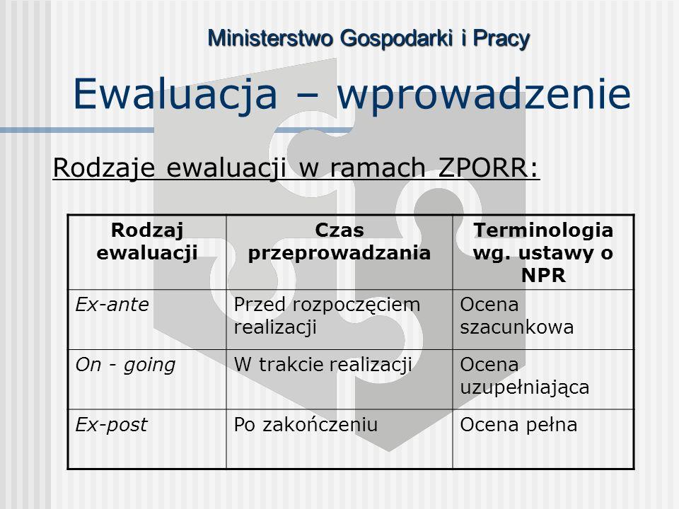 Ministerstwo Gospodarki i Pracy Rodzaje ewaluacji w ramach ZPORR: Ewaluacja – wprowadzenie Rodzaj ewaluacji Czas przeprowadzania Terminologia wg.