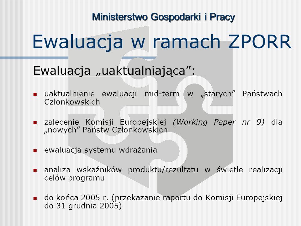 Ministerstwo Gospodarki i Pracy Ewaluacja w ramach ZPORR Ewaluacja uaktualniająca: uaktualnienie ewaluacji mid-term w starych Państwach Członkowskich zalecenie Komisji Europejskiej (Working Paper nr 9) dla nowych Państw Członkowskich ewaluacja systemu wdrażania analiza wskaźników produktu/rezultatu w świetle realizacji celów programu do końca 2005 r.