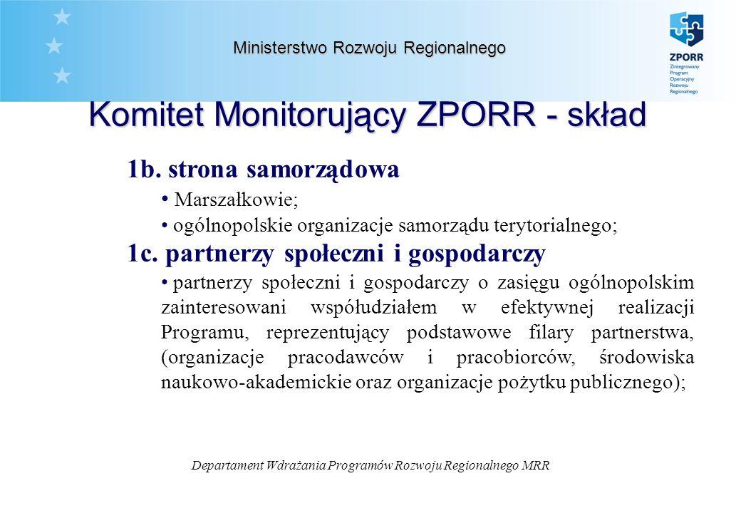 Departament Wdrażania Programów Rozwoju Regionalnego MRR 1b.