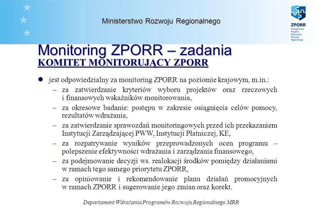 Departament Wdrażania Programów Rozwoju Regionalnego MRR Ministerstwo Rozwoju Regionalnego Monitoring ZPORR – zadania KOMITET MONITORUJĄCY ZPORR KOMITET MONITORUJĄCY ZPORR ljest odpowiedzialny za monitoring ZPORR na poziomie krajowym, m.in.: –za zatwierdzanie kryteriów wyboru projektów oraz rzeczowych i finansowych wskaźników monitorowania, –za okresowe badanie: postępu w zakresie osiągnięcia celów pomocy, rezultatów wdrażania, –za zatwierdzanie sprawozdań monitoringowych przed ich przekazaniem Instytucji Zarządzającej PWW, Instytucji Płatniczej, KE, –za rozpatrywanie wyników przeprowadzonych ocen programu – polepszenie efektywności wdrażania i zarządzania finansowego, –za podejmowanie decyzji ws.