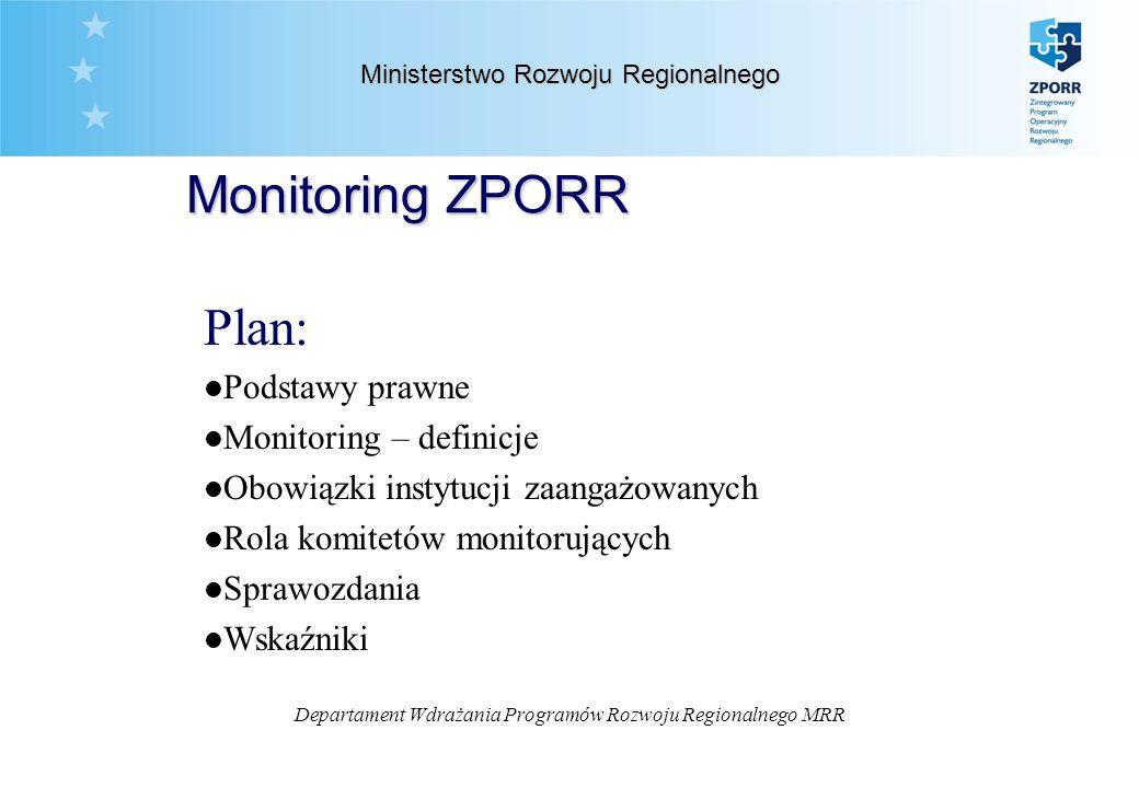 Departament Wdrażania Programów Rozwoju Regionalnego MRR Ministerstwo Rozwoju Regionalnego Plan: l Podstawy prawne l Monitoring – definicje l Obowiązki instytucji zaangażowanych l Rola komitetów monitorujących l Sprawozdania l Wskaźniki Monitoring ZPORR