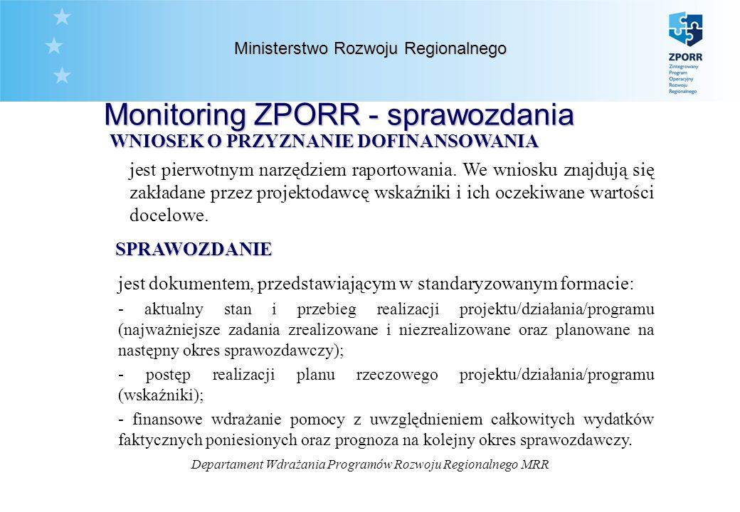Departament Wdrażania Programów Rozwoju Regionalnego MRR Ministerstwo Rozwoju Regionalnego Monitoring ZPORR - sprawozdania WNIOSEK O PRZYZNANIE DOFINANSOWANIA jest pierwotnym narzędziem raportowania.