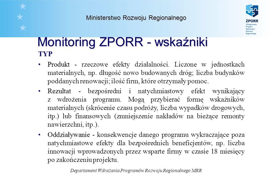 Departament Wdrażania Programów Rozwoju Regionalnego MRR Monitoring ZPORR - wskaźniki Ministerstwo Rozwoju Regionalnego TYP Produkt -.