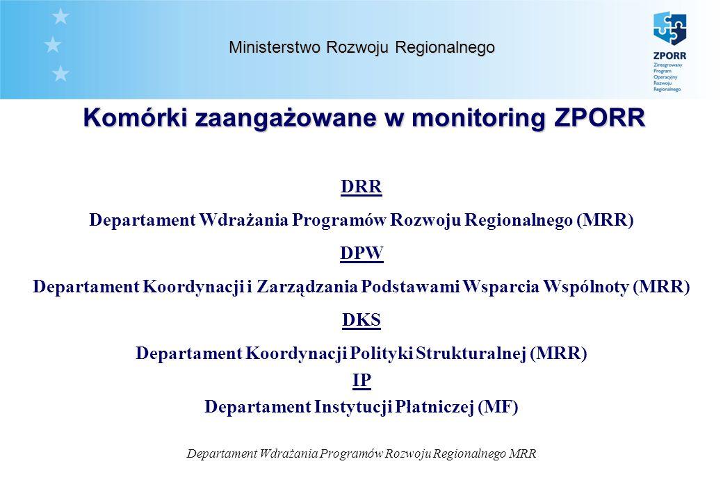 Departament Wdrażania Programów Rozwoju Regionalnego MRR Ministerstwo Rozwoju Regionalnego Komórki zaangażowane w monitoring ZPORR DRR Departament Wdrażania Programów Rozwoju Regionalnego (MRR) DPW Departament Koordynacji i Zarządzania Podstawami Wsparcia Wspólnoty (MRR) DKS Departament Koordynacji Polityki Strukturalnej (MRR) IIP Departament Instytucji Płatniczej (MF)