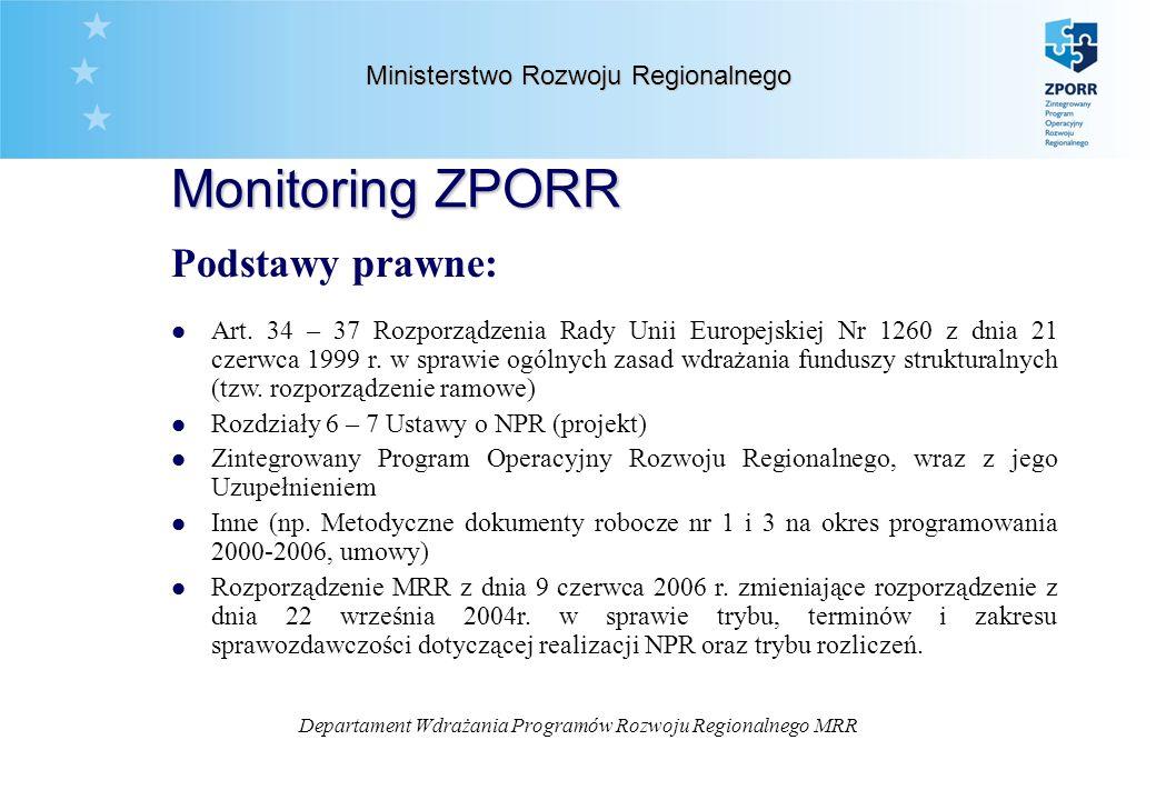 Departament Wdrażania Programów Rozwoju Regionalnego MRR Ministerstwo Rozwoju Regionalnego Monitoring ZPORR Podstawy prawne: l Art.