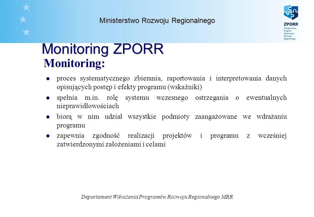 Departament Wdrażania Programów Rozwoju Regionalnego MRR Ministerstwo Rozwoju Regionalnego Monitoring ZPORR Monitoring: l proces systematycznego zbierania, raportowania i interpretowania danych opisujących postęp i efekty programu (wskaźniki) l spełnia m.in.
