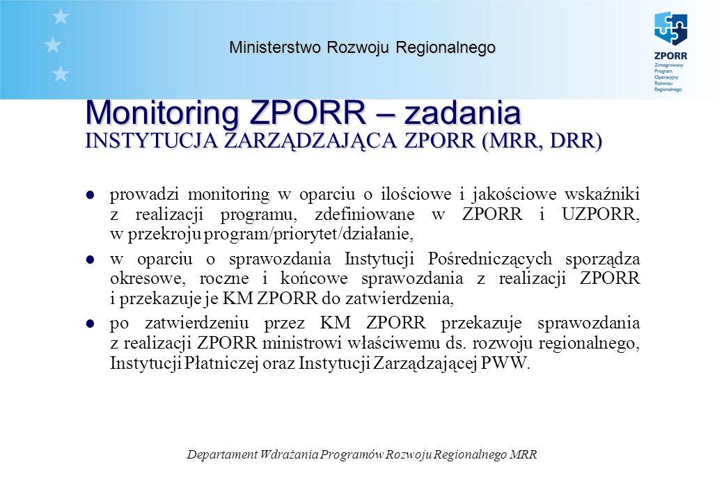 Departament Wdrażania Programów Rozwoju Regionalnego MRR Ministerstwo Rozwoju Regionalnego Monitoring ZPORR – zadania INSTYTUCJA ZARZĄDZAJĄCA ZPORR (MRR, DRR) l prowadzi monitoring w oparciu o ilościowe i jakościowe wskaźniki z realizacji programu, zdefiniowane w ZPORR i UZPORR, w przekroju program/priorytet/działanie, l w oparciu o sprawozdania Instytucji Pośredniczących sporządza okresowe, roczne i końcowe sprawozdania z realizacji ZPORR i przekazuje je KM ZPORR do zatwierdzenia, l po zatwierdzeniu przez KM ZPORR przekazuje sprawozdania z realizacji ZPORR ministrowi właściwemu ds.