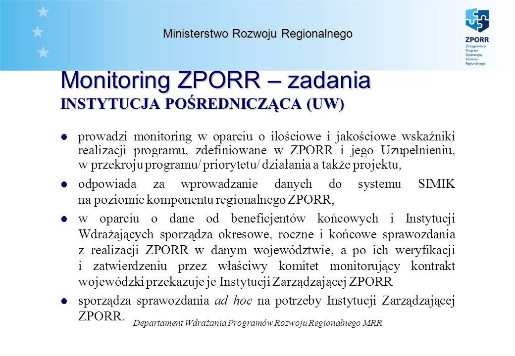 Departament Wdrażania Programów Rozwoju Regionalnego MRR Ministerstwo Rozwoju Regionalnego Monitoring ZPORR – zadania BENEFICJENT KOŃCOWY/ INSTYTUCJA WDRAŻAJĄCA l monitoruje wdrażanie poszczególnych projektów, w tym przyjmuje i weryfikuje okresowe, roczne i końcowe sprawozdania z realizacji projektów od ostatecznych odbiorców (beneficjentów) l przygotowuje sprawozdania z realizacji działania i przedkłada je Instytucji Pośredniczącej l odpowiada za wprowadzanie danych do systemu SIMIK na poziomie komponentu regionalnego ZPORR.