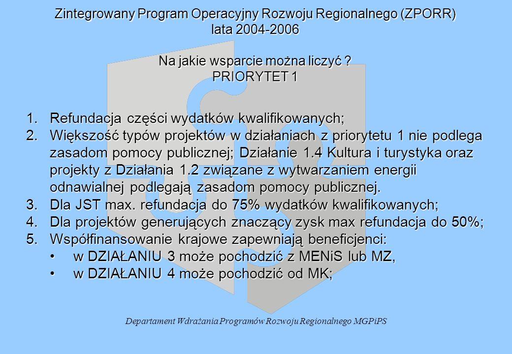 Departament Wdrażania Programów Rozwoju Regionalnego MGPiPS Zintegrowany Program Operacyjny Rozwoju Regionalnego (ZPORR) lata 2004-2006 Na jakie wsparcie można liczyć .