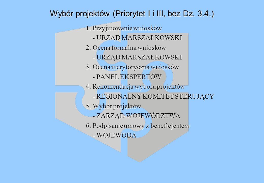 Wybór projektów (Priorytet I i III, bez Dz. 3.4.) 1.