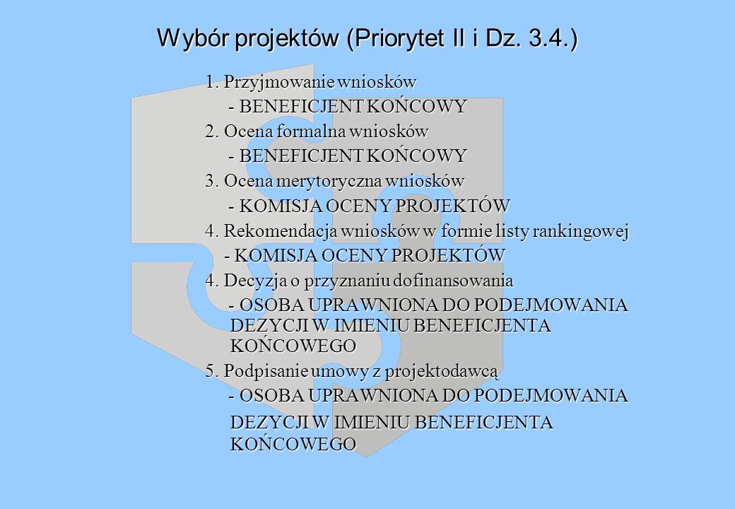Wybór projektów (Priorytet II i Dz. 3.4.) 1.
