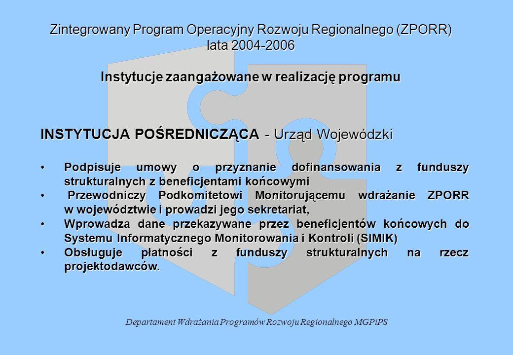Departament Wdrażania Programów Rozwoju Regionalnego MGPiPS Zintegrowany Program Operacyjny Rozwoju Regionalnego (ZPORR) lata 2004-2006 Instytucje zaangażowane w realizację programu INSTYTUCJA POŚREDNICZĄCA - Urząd Wojewódzki Podpisuje umowy o przyznanie dofinansowania z funduszy strukturalnych z beneficjentami końcowymiPodpisuje umowy o przyznanie dofinansowania z funduszy strukturalnych z beneficjentami końcowymi Przewodniczy Podkomitetowi Monitorującemu wdrażanie ZPORR w województwie i prowadzi jego sekretariat, Przewodniczy Podkomitetowi Monitorującemu wdrażanie ZPORR w województwie i prowadzi jego sekretariat, Wprowadza dane przekazywane przez beneficjentów końcowych do Systemu Informatycznego Monitorowania i Kontroli (SIMIK)Wprowadza dane przekazywane przez beneficjentów końcowych do Systemu Informatycznego Monitorowania i Kontroli (SIMIK) Obsługuje płatności z funduszy strukturalnych na rzecz projektodawców.Obsługuje płatności z funduszy strukturalnych na rzecz projektodawców.