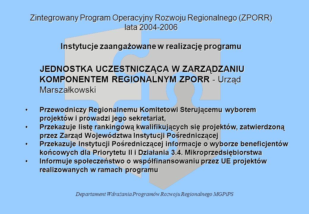 Departament Wdrażania Programów Rozwoju Regionalnego MGPiPS Zintegrowany Program Operacyjny Rozwoju Regionalnego (ZPORR) lata 2004-2006 Instytucje zaangażowane w realizację programu JEDNOSTKA UCZESTNICZĄCA W ZARZĄDZANIU KOMPONENTEM REGIONALNYM ZPORR - Urząd Marszałkowski JEDNOSTKA UCZESTNICZĄCA W ZARZĄDZANIU KOMPONENTEM REGIONALNYM ZPORR - Urząd Marszałkowski Przewodniczy Regionalnemu Komitetowi Sterującemu wyborem projektów i prowadzi jego sekretariat,Przewodniczy Regionalnemu Komitetowi Sterującemu wyborem projektów i prowadzi jego sekretariat, Przekazuje listę rankingową kwalifikujących się projektów, zatwierdzoną przez Zarząd Województwa Instytucji PośredniczącejPrzekazuje listę rankingową kwalifikujących się projektów, zatwierdzoną przez Zarząd Województwa Instytucji Pośredniczącej Przekazuje Instytucji Pośredniczącej informacje o wyborze beneficjentów końcowych dla Priorytetu II i Działania 3.4.
