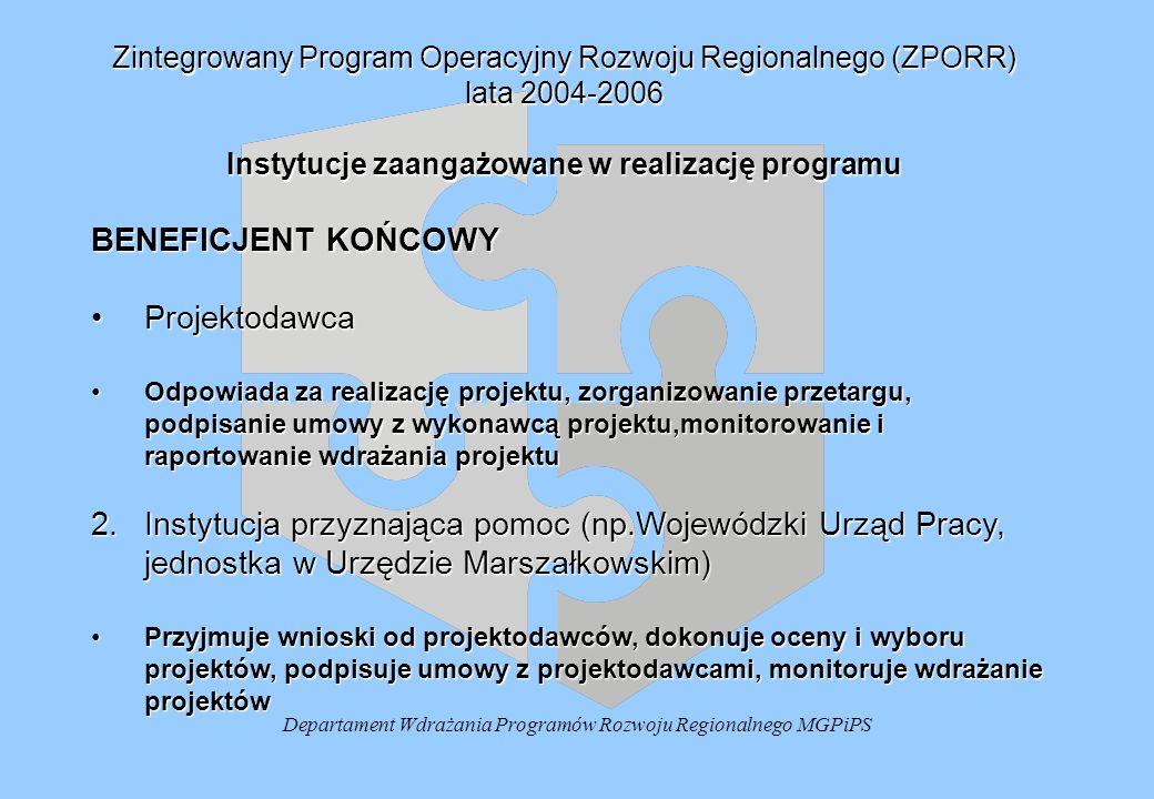 Departament Wdrażania Programów Rozwoju Regionalnego MGPiPS Zintegrowany Program Operacyjny Rozwoju Regionalnego (ZPORR) lata 2004-2006 Instytucje zaangażowane w realizację programu BENEFICJENT KOŃCOWY ProjektodawcaProjektodawca Odpowiada za realizację projektu, zorganizowanie przetargu, podpisanie umowy z wykonawcą projektu,monitorowanie i raportowanie wdrażania projektuOdpowiada za realizację projektu, zorganizowanie przetargu, podpisanie umowy z wykonawcą projektu,monitorowanie i raportowanie wdrażania projektu 2.Instytucja przyznająca pomoc (np.Wojewódzki Urząd Pracy, jednostka w Urzędzie Marszałkowskim) Przyjmuje wnioski od projektodawców, dokonuje oceny i wyboru projektów, podpisuje umowy z projektodawcami, monitoruje wdrażanie projektówPrzyjmuje wnioski od projektodawców, dokonuje oceny i wyboru projektów, podpisuje umowy z projektodawcami, monitoruje wdrażanie projektów