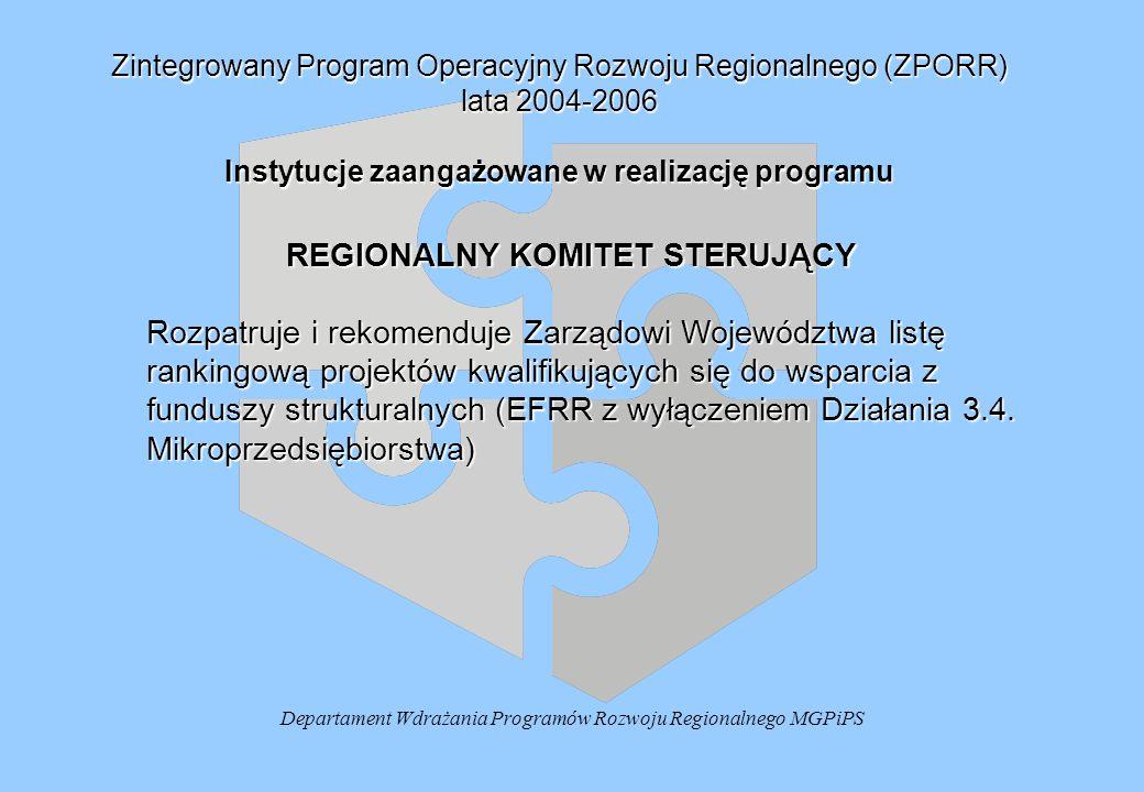 Departament Wdrażania Programów Rozwoju Regionalnego MGPiPS Zintegrowany Program Operacyjny Rozwoju Regionalnego (ZPORR) lata 2004-2006 Instytucje zaangażowane w realizację programu REGIONALNY KOMITET STERUJĄCY Rozpatruje i rekomenduje Zarządowi Województwa listę rankingową projektów kwalifikujących się do wsparcia z funduszy strukturalnych (EFRR z wyłączeniem Działania 3.4.