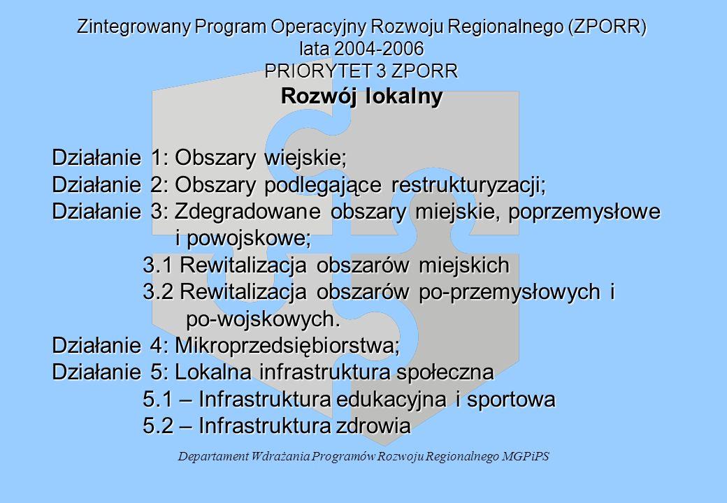 Departament Wdrażania Programów Rozwoju Regionalnego MGPiPS Zintegrowany Program Operacyjny Rozwoju Regionalnego (ZPORR) lata 2004-2006 PRIORYTET 3 ZPORR Rozwój lokalny Działanie 1: Obszary wiejskie; Działanie 2: Obszary podlegające restrukturyzacji; Działanie 3: Zdegradowane obszary miejskie, poprzemysłowe i powojskowe; i powojskowe; 3.1 Rewitalizacja obszarów miejskich 3.2 Rewitalizacja obszarów po-przemysłowych i po-wojskowych.