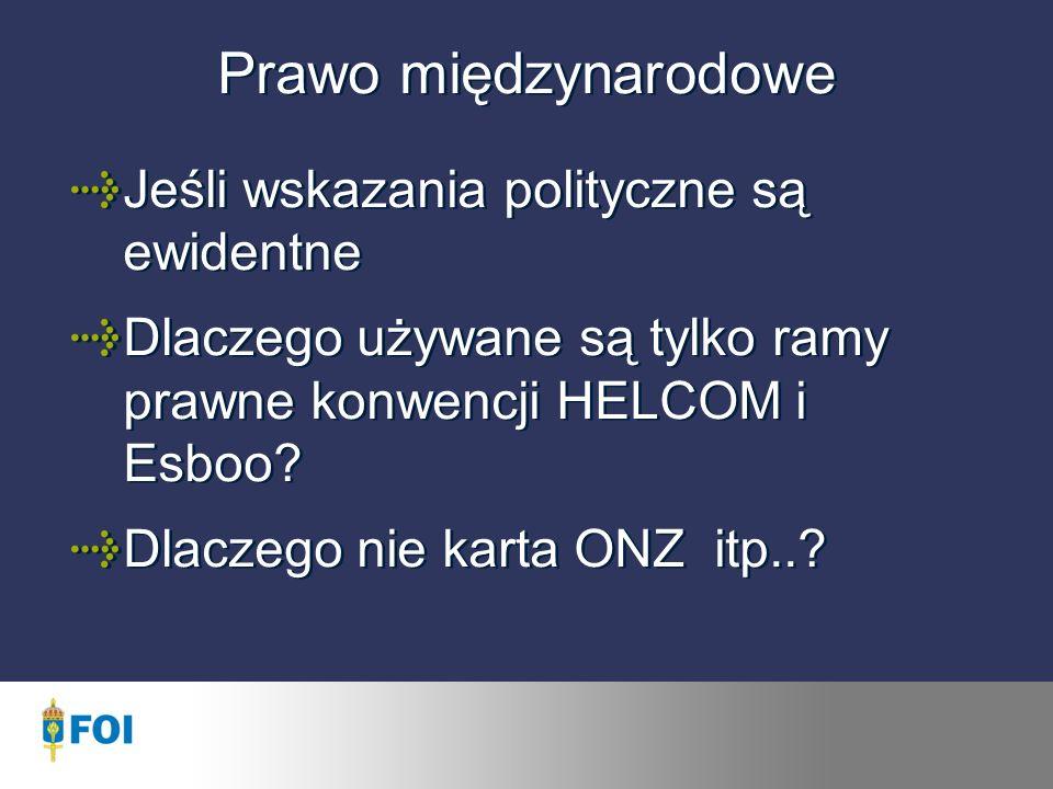 Prawo międzynarodowe Jeśli wskazania polityczne są ewidentne Dlaczego używane są tylko ramy prawne konwencji HELCOM i Esboo.