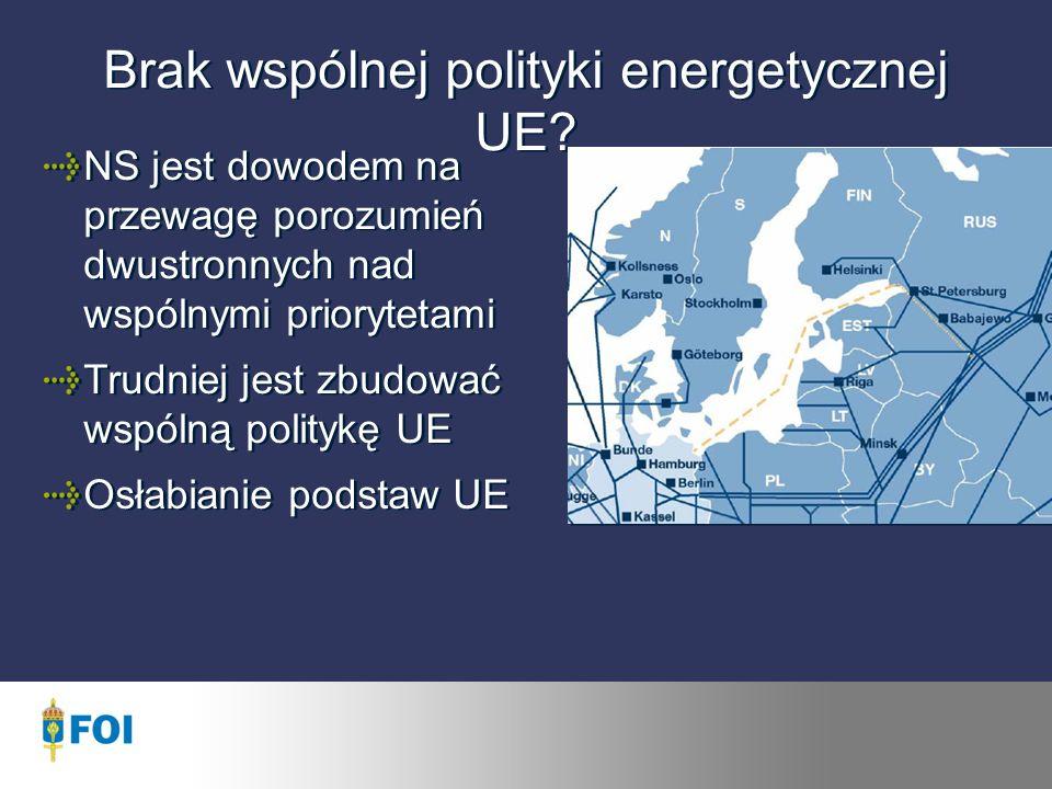 Brak wspólnej polityki energetycznej UE.