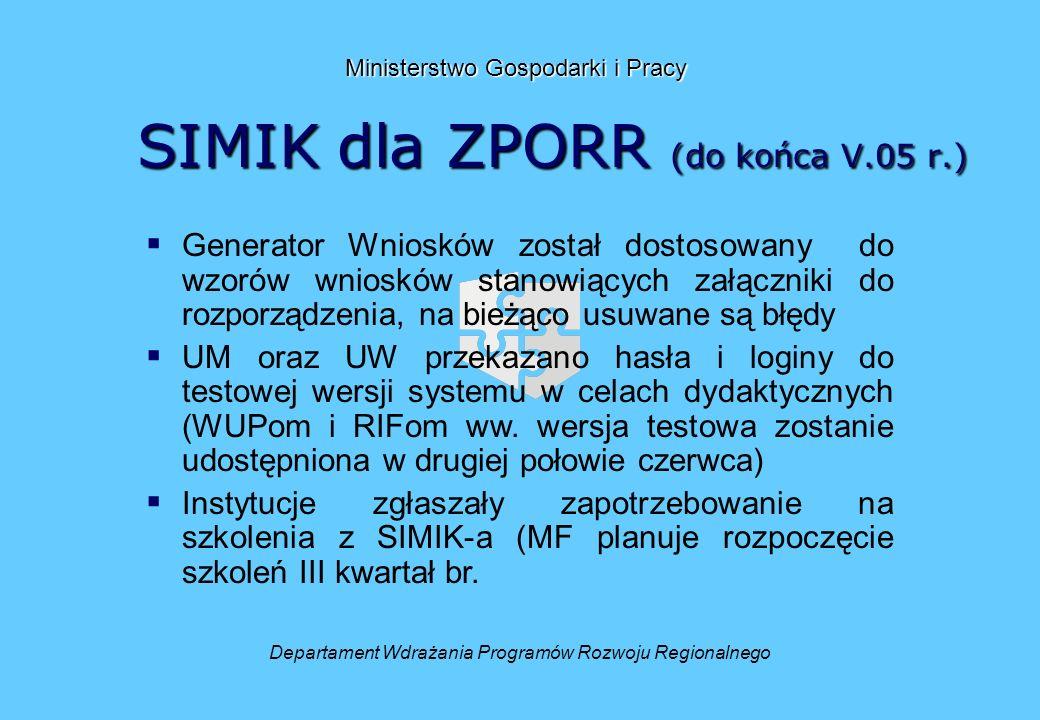SIMIK dla ZPORR (do końca V.05 r.) Departament Wdrażania Programów Rozwoju Regionalnego Ministerstwo Gospodarki i Pracy Generator Wniosków został dostosowany do wzorów wniosków stanowiących załączniki do rozporządzenia, na bieżąco usuwane są błędy UM oraz UW przekazano hasła i loginy do testowej wersji systemu w celach dydaktycznych (WUPom i RIFom ww.