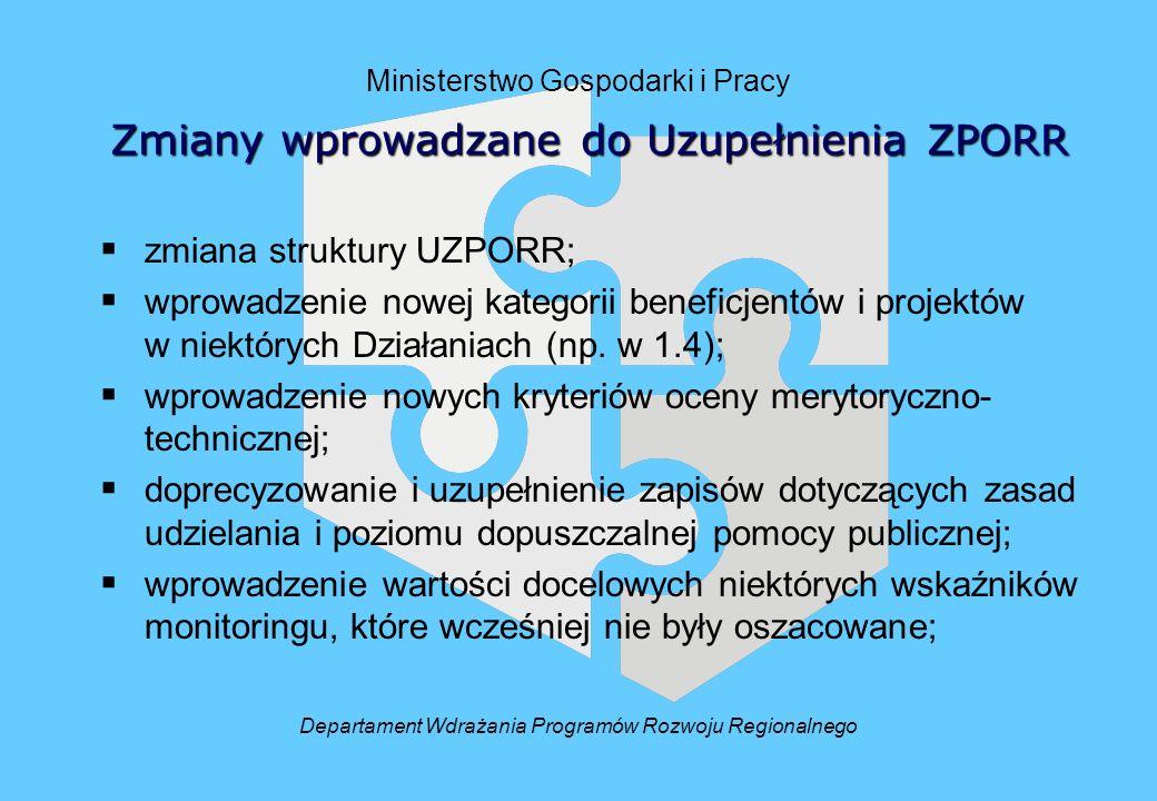 Ministerstwo Gospodarki i Pracy zmiana struktury UZPORR; wprowadzenie nowej kategorii beneficjentów i projektów w niektórych Działaniach (np.