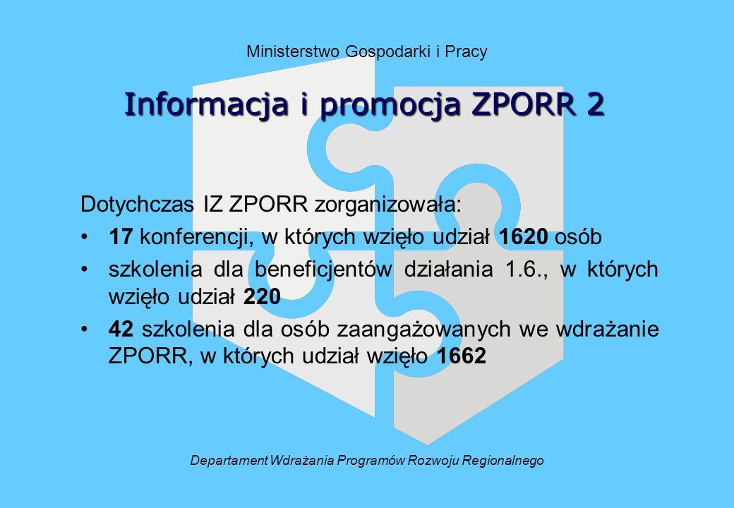 Ministerstwo Gospodarki i Pracy Dotychczas IZ ZPORR zorganizowała: 17 konferencji, w których wzięło udział 1620 osób szkolenia dla beneficjentów działania 1.6., w których wzięło udział 220 42 szkolenia dla osób zaangażowanych we wdrażanie ZPORR, w których udział wzięło 1662 Informacjai promocja ZPORR 2 Informacja i promocja ZPORR 2 Departament Wdrażania Programów Rozwoju Regionalnego