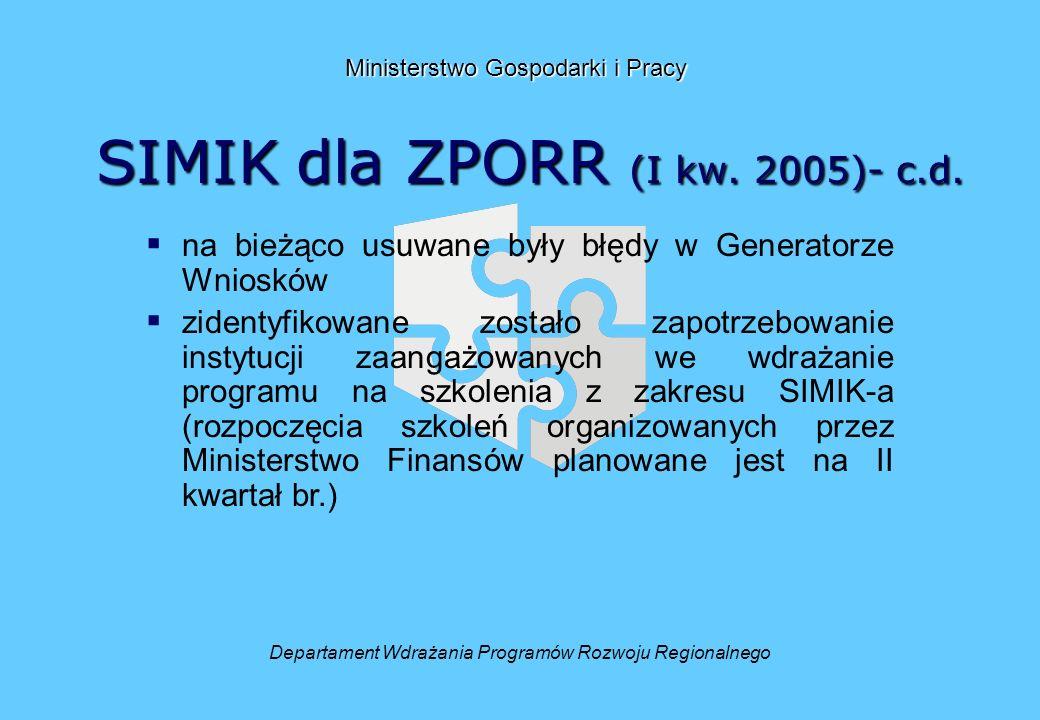 SIMIK dla ZPORR (I kw. 2005)- c.d.