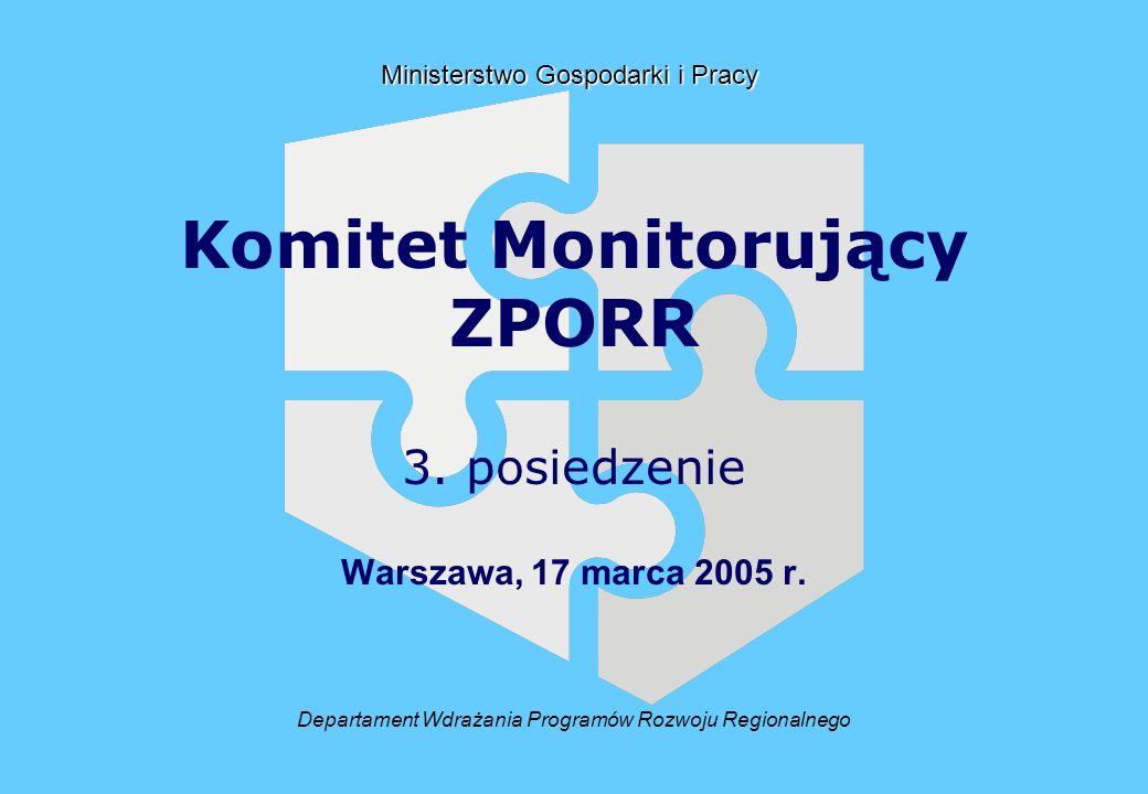 Departament Wdrażania Programów Rozwoju Regionalnego Ministerstwo Gospodarki i Pracy Komitet Monitorujący ZPORR 3.