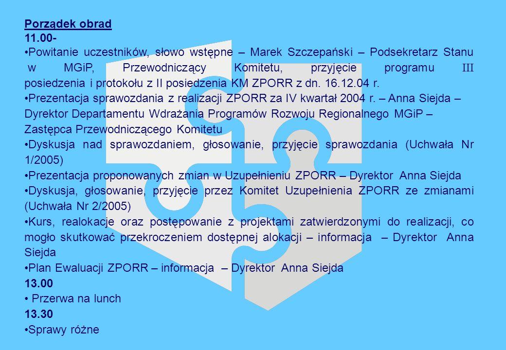 Porządek obrad 11.00- Powitanie uczestników, słowo wstępne – Marek Szczepański – Podsekretarz Stanu w MGiP, Przewodniczący Komitetu, przyjęcie programu III posiedzenia i protokołu z II posiedzenia KM ZPORR z dn.