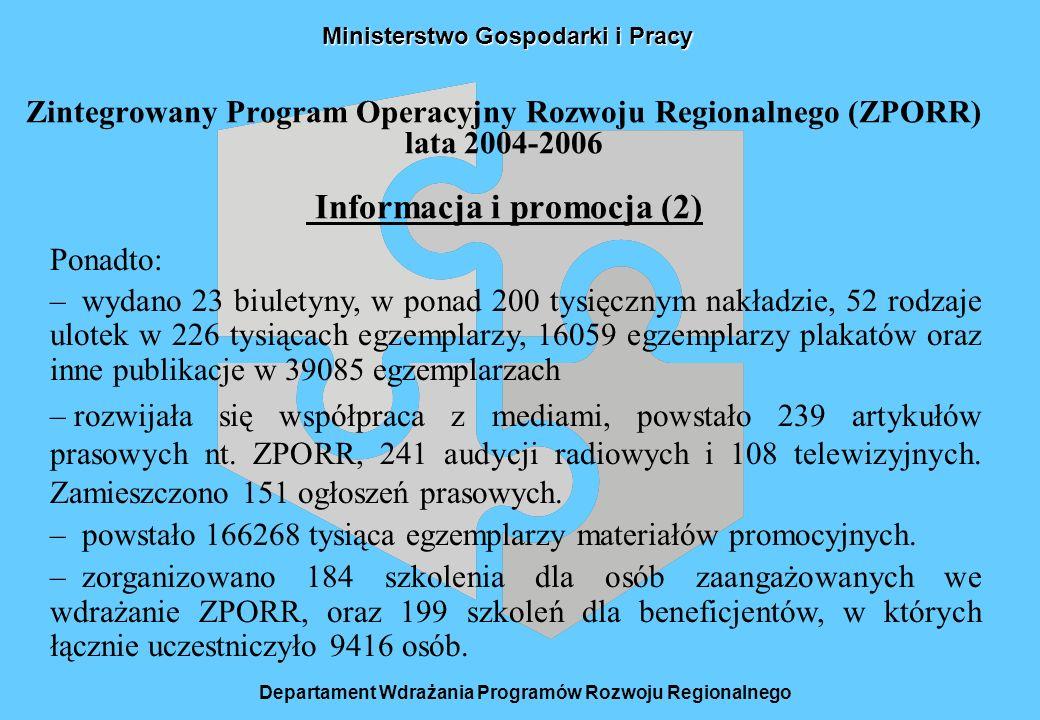 Ministerstwo Gospodarki i Pracy Zintegrowany Program Operacyjny Rozwoju Regionalnego (ZPORR) lata 2004-2006 Informacja i promocja (2) Departament Wdrażania Programów Rozwoju Regionalnego Ponadto: – wydano 23 biuletyny, w ponad 200 tysięcznym nakładzie, 52 rodzaje ulotek w 226 tysiącach egzemplarzy, 16059 egzemplarzy plakatów oraz inne publikacje w 39085 egzemplarzach – rozwijała się współpraca z mediami, powstało 239 artykułów prasowych nt.