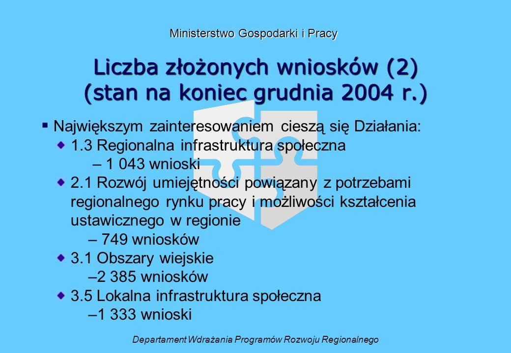 Liczba złożonych wniosków (2) (stan na koniec grudnia 2004 r.) Departament Wdrażania Programów Rozwoju Regionalnego Ministerstwo Gospodarki i Pracy Największym zainteresowaniem cieszą się Działania: 1.3 Regionalna infrastruktura społeczna – 1 043 wnioski 2.1 Rozwój umiejętności powiązany z potrzebami regionalnego rynku pracy i możliwości kształcenia ustawicznego w regionie – 749 wniosków 3.1 Obszary wiejskie –2 385 wniosków 3.5 Lokalna infrastruktura społeczna –1 333 wnioski