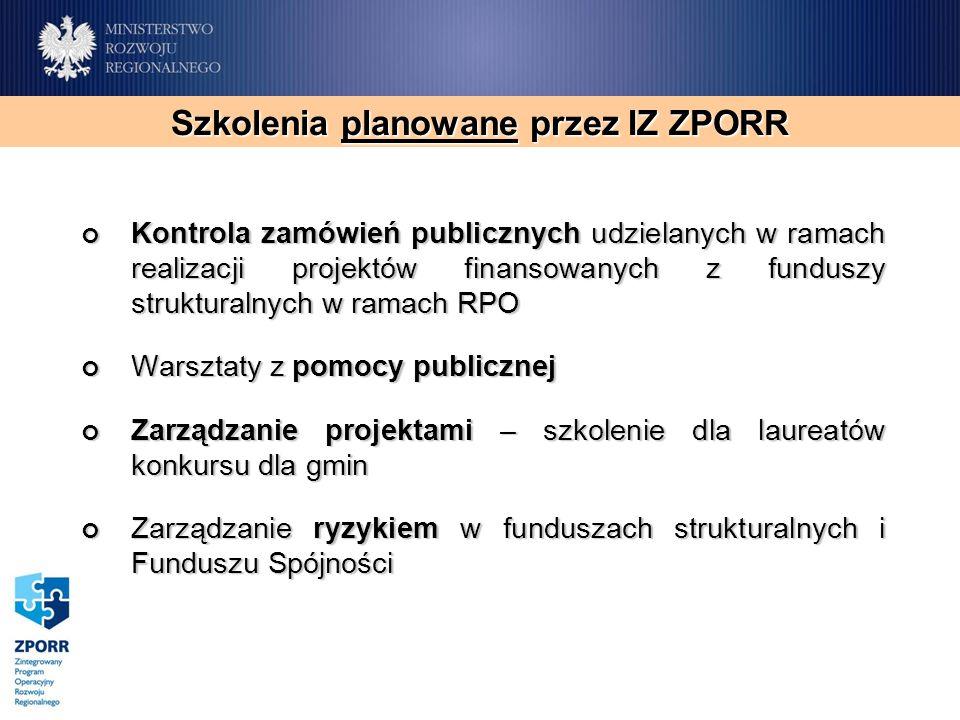 Kontrola zamówień publicznych udzielanych w ramach realizacji projektów finansowanych z funduszy strukturalnych w ramach RPO Kontrola zamówień publicz