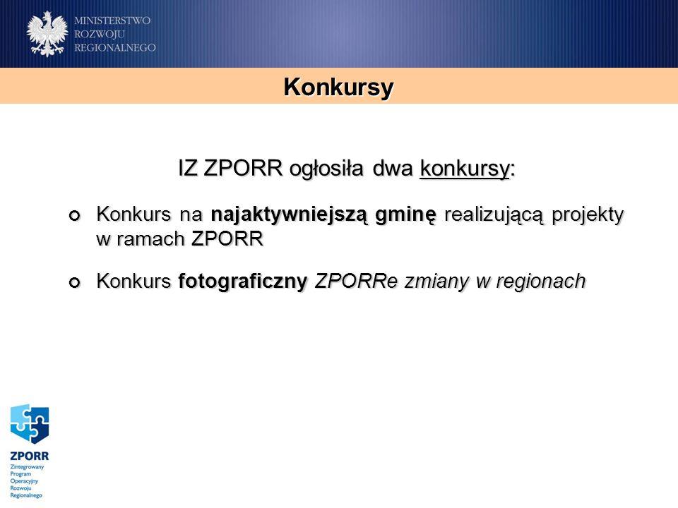 Konkursy IZ ZPORR ogłosiła dwa konkursy: Konkurs na najaktywniejszą gminę realizującą projekty w ramach ZPORR Konkurs na najaktywniejszą gminę realizującą projekty w ramach ZPORR Konkurs fotograficzny ZPORRe zmiany w regionach Konkurs fotograficzny ZPORRe zmiany w regionach