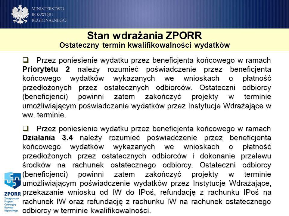 Stan wdrażania ZPORR Ostateczny termin kwalifikowalności wydatków Przez poniesienie wydatku przez beneficjenta końcowego w ramach Priorytetu 2 należy