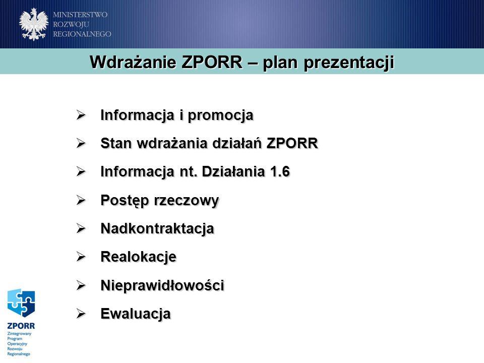 Wdrażanie ZPORR – plan prezentacji Informacja i promocja Informacja i promocja Stan wdrażania działań ZPORR Stan wdrażania działań ZPORR Informacja nt