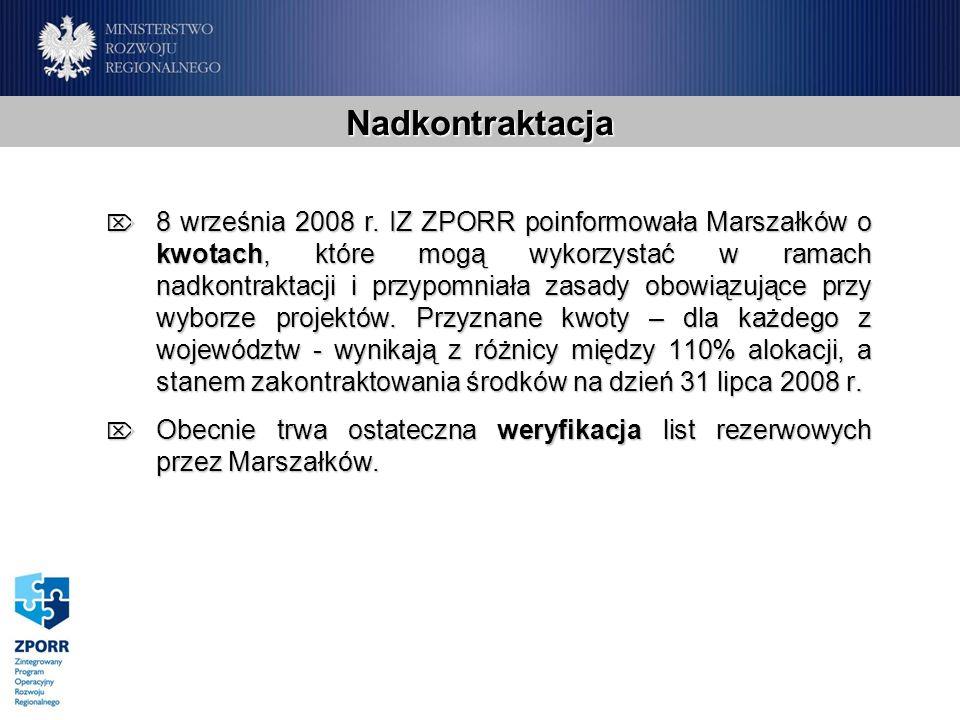 Nadkontraktacja 8 września 2008 r. IZ ZPORR poinformowała Marszałków o kwotach, które mogą wykorzystać w ramach nadkontraktacji i przypomniała zasady