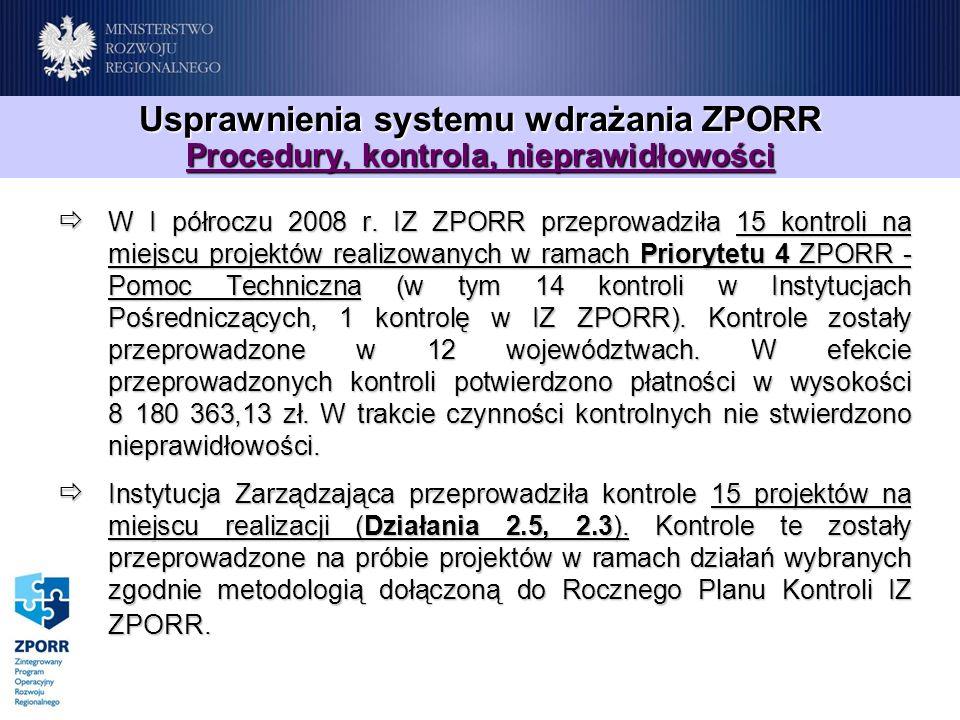 Usprawnienia systemu wdrażania ZPORR Procedury, kontrola, nieprawidłowości W I półroczu 2008 r. IZ ZPORR przeprowadziła 15 kontroli na miejscu projekt