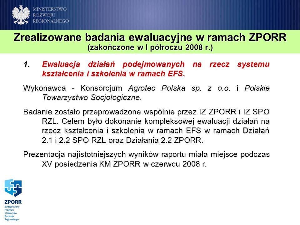 Zrealizowane badania ewaluacyjne w ramach ZPORR (zakończone w I półroczu 2008 r.) 1.Ewaluacja działań podejmowanych na rzecz systemu kształcenia i szkolenia w ramach EFS.