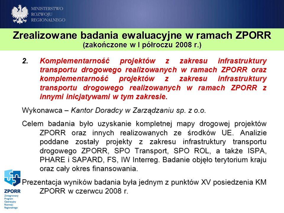 Zrealizowane badania ewaluacyjne w ramach ZPORR (zakończone w I półroczu 2008 r.) 2.Komplementarność projektów z zakresu infrastruktury transportu dro
