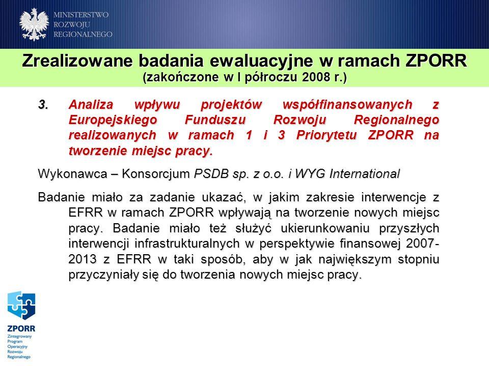Zrealizowane badania ewaluacyjne w ramach ZPORR (zakończone w I półroczu 2008 r.) 3.Analiza wpływu projektów współfinansowanych z Europejskiego Fundus