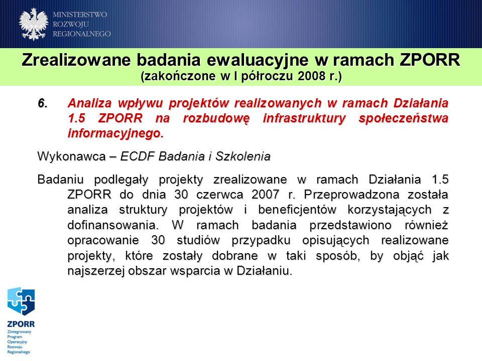Zrealizowane badania ewaluacyjne w ramach ZPORR (zakończone w I półroczu 2008 r.) 6.Analiza wpływu projektów realizowanych w ramach Działania 1.5 ZPOR